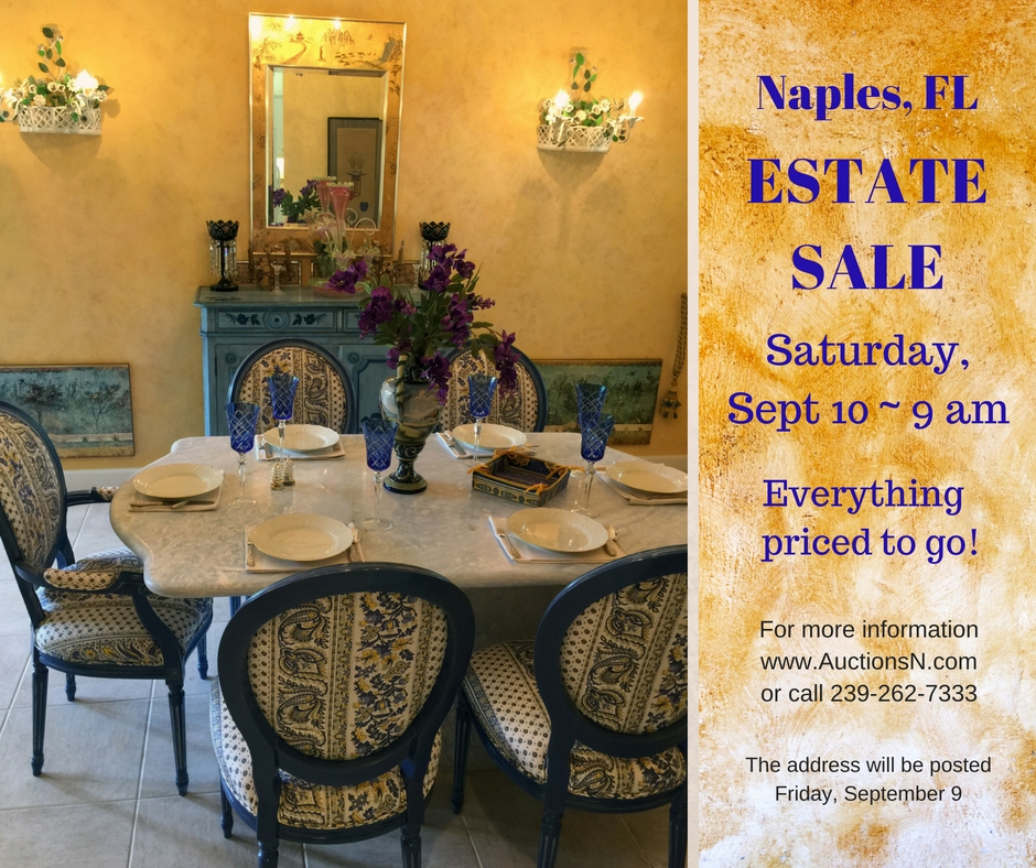 Image featuring the dining room furnishings offered in this estate sale